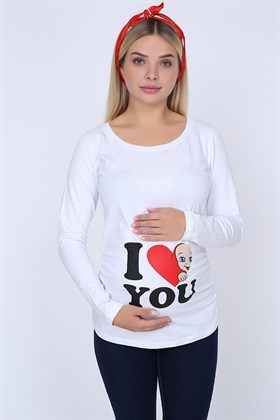 I Love You Baskılı Sweatshirt